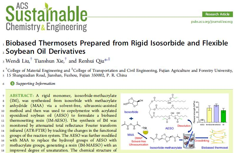 FAFU PhD Student Liu Wendi Published His Research Achievement In The Journal Of《ACS Sustainable